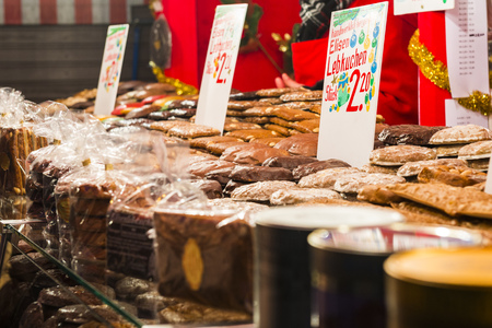 christkindlmarkt: Candies stand at Christmas Market in Nuremberg, Germany