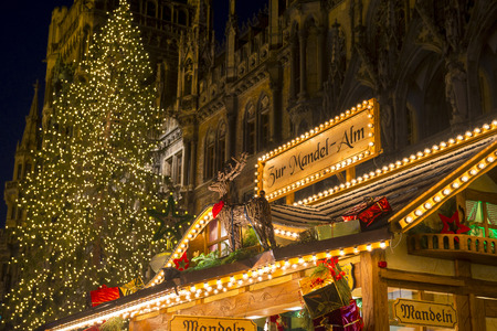 christkindlmarkt: Christmas Market at Marienplatz in Munich, Germany