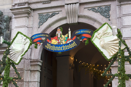 the residence: Signboard of Munich Residence Christmas Market, Germany