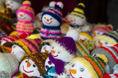 christkindlmarkt: Soft toys at Christmas market of Munich Residence, Germany