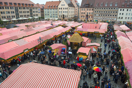 christkindlmarkt: Christmas Market at Nuremberg Hauptmarkt on November 29, 2015 in Nuremberg, Germany