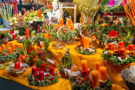 christkindlmarkt: Stand at Christmas market of Viktualienmarkt  on November 27, 2015 in Munich, Germany Editorial