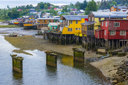 pillage: Stilt houses in Castro, Chiloe island, Chile Editorial