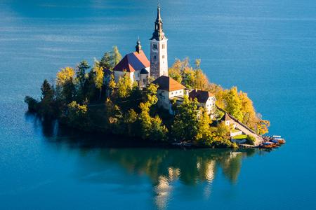 bled: Church on Island in Lake Bled, Slovenia