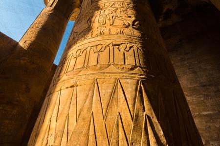 egyptology: Interior of the Temple of Horus or Temple of Edfu, Egypt