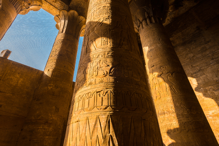 horus: Interior of the Temple of Horus, Temple of Edfu, Egypt Editorial