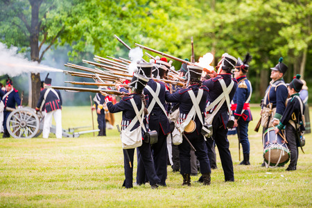 alava: Re-enactment of the battle of Vitoria Between British, Portuguese and Spanish army under General Wellington and the French army in 1813 on May 28, 2016 in Vitoria, Spain