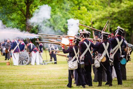 vitoria: Re-enactment of the battle of Vitoria Between British, Portuguese and Spanish army under General Wellington and the French army in 1813 on May 28, 2016 in Vitoria, Spain