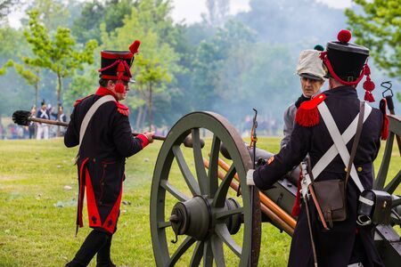 gasteiz: Re-enactment of the battle of Vitoria Between British, Portuguese and Spanish army under General Wellington and the French army in 1813 on May 28, 2016 in Vitoria, Spain