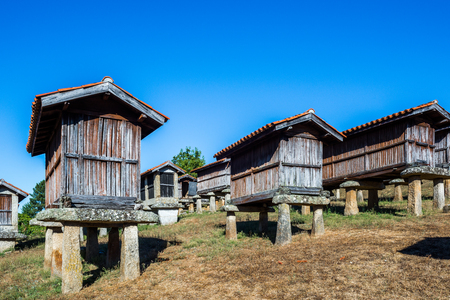 orense: Horreos-granaries of A Merca, the highest concentration of granaries in Galicia, Spain