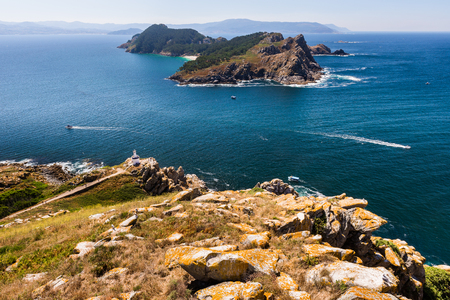 South Island from Faro Island, National Maritime-Terrestrial Park of the Atlantic Islands, Galicia, Spain Stock Photo