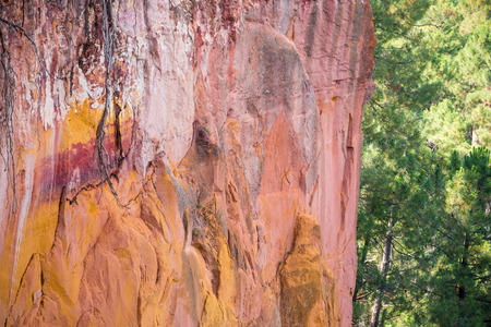 roussillon: Reddish rock formations made of ocher village near Roussillon, Provence, France