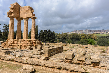 Temple of Dioscuri, Castor and Pollux. UNESCO World Heritage Site. Valley of the Temples. Agrigento, Sicily, Italy Stock Photo