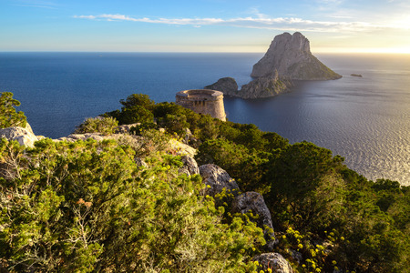 vedra: Savinar Tower and Es Vedra island, Ibiza, Spain Editorial