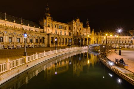 exposición: Plaza de España - Plaza de España por la noche, Sevilla, Andalucía, España