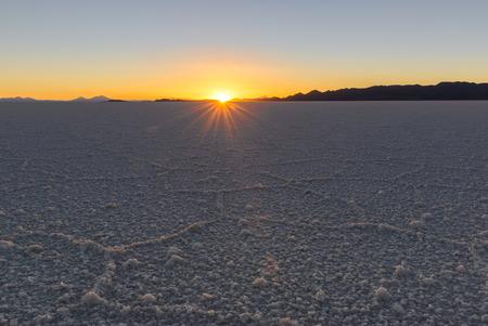 Salar de Uyuni at sunset, Salt flat in Bolivia