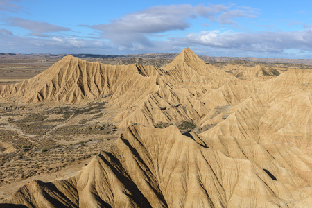 Badlands at Bardenas Reales, Navarre in Spain Stock Photo