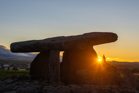 Dolmen of Sorceress Chabola at sunrise, Elvillar, Basque Country, Spain
