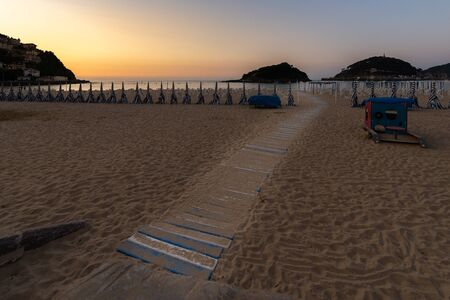 Ondarreta beach at sunset, San Sebastian - Donostia, Spain