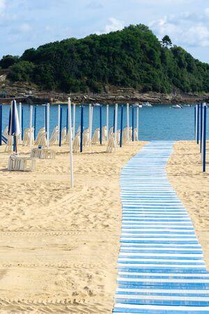 Walkway in Ondarreta beach, San Sebastian - Donostia, Spain