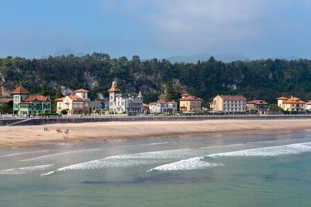 Panorama of Ribadesella village and Santa Marina beach, Asturias, Spain