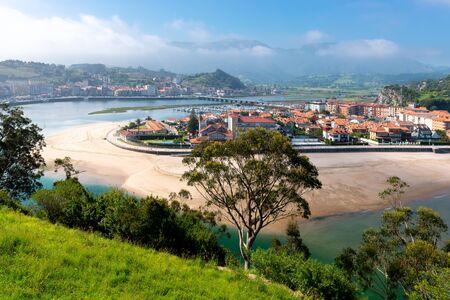 Panorama of Ribadesella village and Santa Marina beach from Corberu mountain, Asturias, Spain