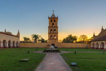 Jesuit Mission Church at sunset, San Jose de Chiquitos, Bolivia