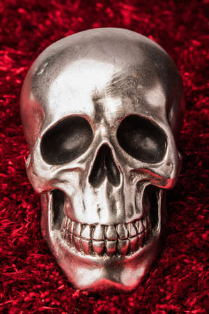 Front view of a silver skull with marks and shadows on red rug background. Zdjęcie Seryjne - 134893544