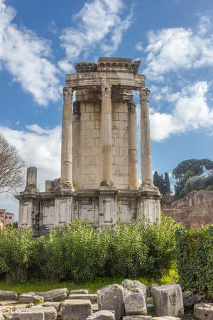 Front view of the temple of Vesta in the Roman Forum