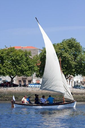 conde: Vila do Conde, Portugal - June 19, 2011: sailboat Fanequeira in the IX International Meeting of Traditional Boats. Editorial