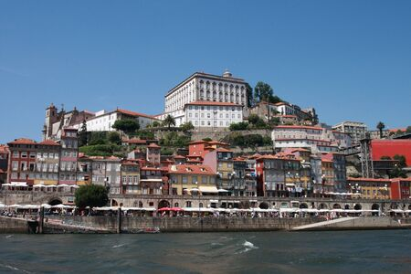 oporto: The historical centre of Oporto view from Douro river  Oporto Stock Photo