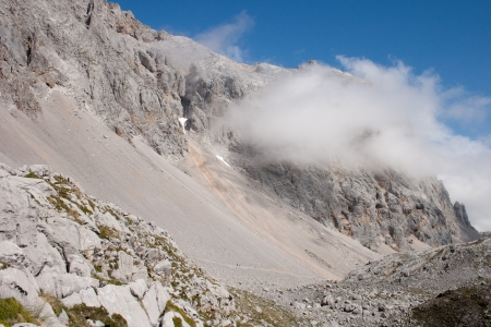 picos: The fog is rising up Pena Olvidada in the National Park of Picos de Europa in Spain. Stock Photo