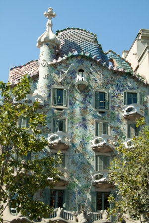 Casa Batllo was built by Antoni Gaudi between 1904 and 1906. Was commissioned by the textile industrialist Josep Batllo. The facade is a landmark in the city of Barcelona. photo