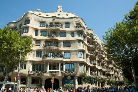 Barcelona, Spain - August 13, 2013 Casa Mila, well known as La Pedrera is a very uncommun building constructed between 1906 and 1912 by the architect Antoni Gaudi Was declared UNESCO World Heritage in 1984 Stock Photo