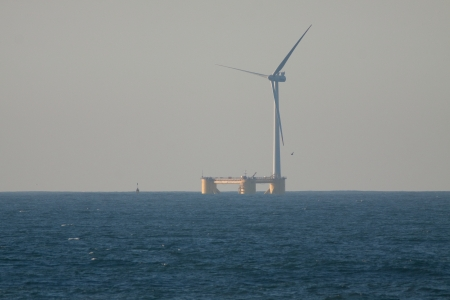 Floating wind turbine installed 4 km offshore of Agucadoura, Povoa de Varzim, Portugal in October 2011  Was the first offshore wind turbine deployed without the use of any offshore heavy lift vessels  Additionaly this is the first offshore wind turbine in photo