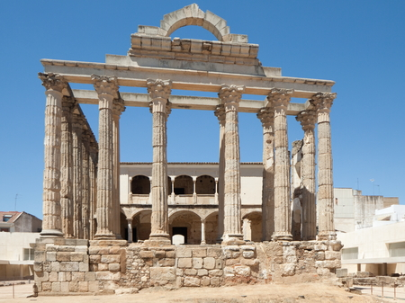 extremadura: M?rida is the capital of the autonomous community of Extremadura, western central Spain. The Archaeological Ensemble of M?rida has been a UNESCO World Heritage site since 1993.The Diana Temple is a ruined Roman temple. Stock Photo