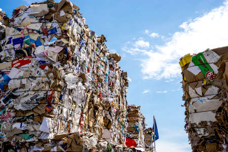 Valencia,Spain, 3,6,2018: outdoor paper and cardboard dump Editorial