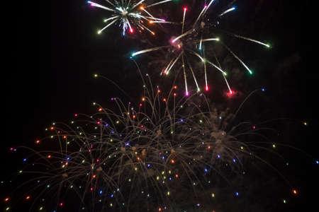 fireworks over black sky in valencia Stock fotó