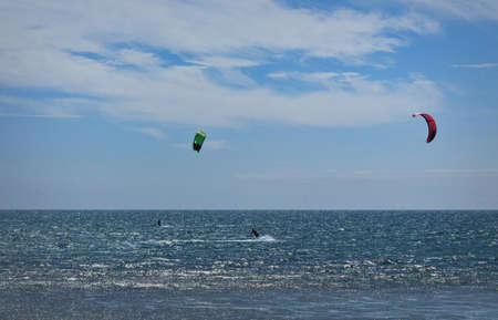 Kitesurfing, sport and recreation on the beaches of Mancora, Piura, Peru