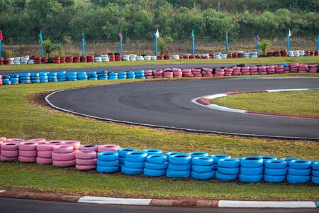 karts circuit curve as a concept of difficulty, race, effort and new challenges Stock Photo