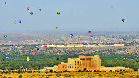 nm: Balloons flying over Sandia Casino and Albuquerque NM Stock Photo
