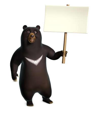 oso negro: 3d oso negro que sostiene en blanco