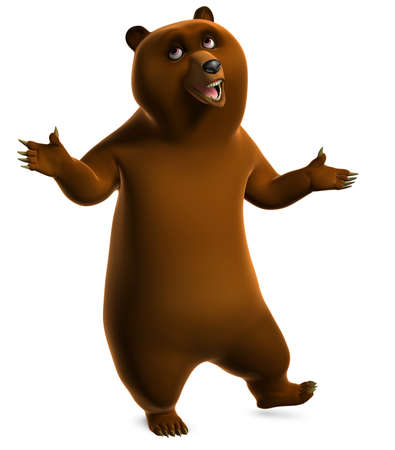 cartoon bear: Brown grizzly bear