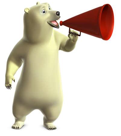 loudhailer: cartoon polar bear