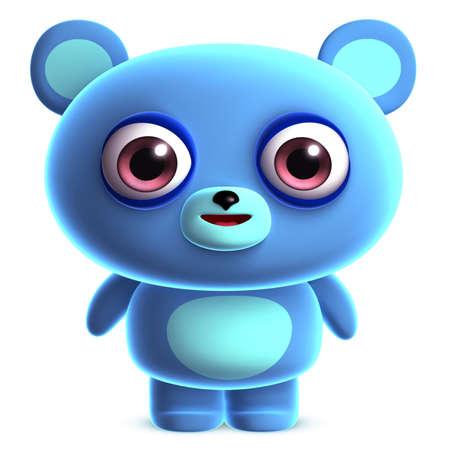 osito caricatura: 3d azul lindo del oso