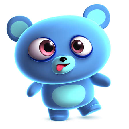 crazy cute: 3d crazy blue bear Stock Photo
