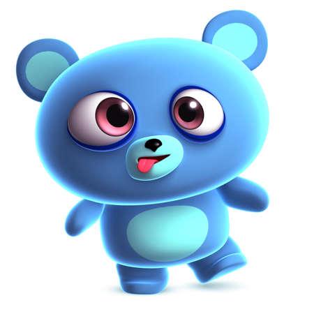 clumsy: 3d crazy blue bear Stock Photo