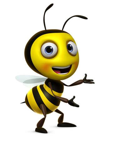 mouche: 3d mignon d'abeille Banque d'images