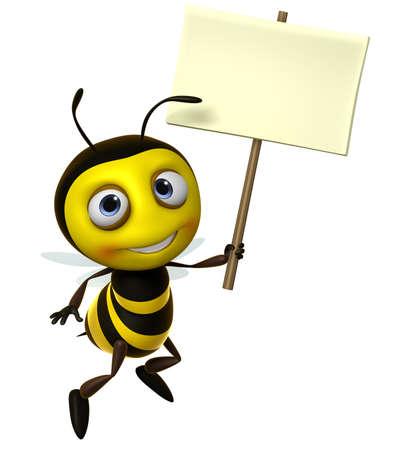 cute bee: 3d cute honey bee holding blank