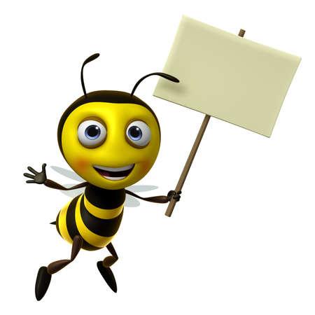 3d cute honey bee holding blank photo